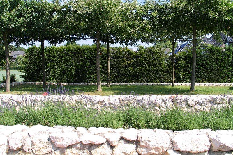 Steinmauer im Garten in Viersen